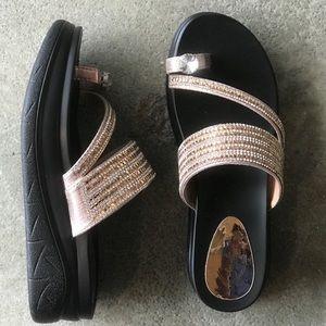 Italina Rhinestone Gold Silver Toe Wedge Sandal